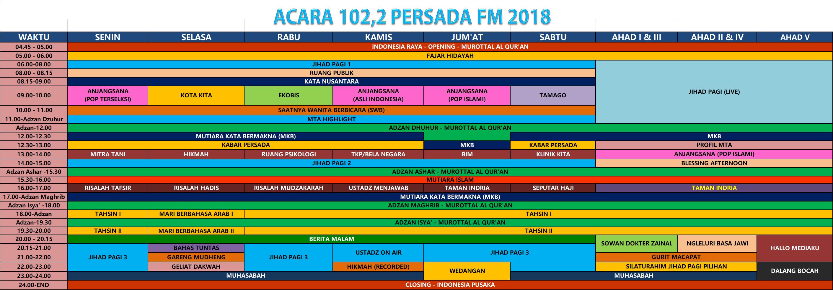 jadwal persada fm 2018
